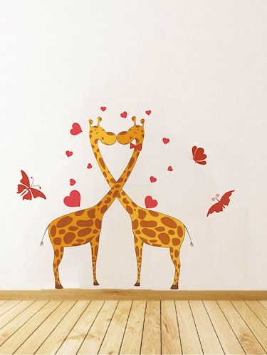 Rawpockets Wall Decals ' Giraffe Love and Butterfly Wall Sticker '  Wall stickers (PVC Vinyl) Multicolour - 15733660 - Standard Image - 1