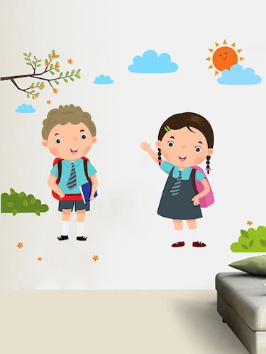 Rawpockets Wall Decals ' Back to School Boy and Girl Wall Sticker '  Wall stickers (PVC Vinyl) Multicolour - 15733664 - Standard Image - 1