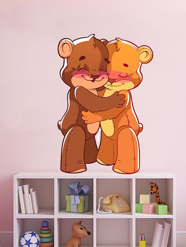 Rawpockets Wall Decals ' Teddy Bear Hug Wall Sticker '  Wall stickers (PVC Vinyl) Multicolour - 15733665 - Standard Image - 1