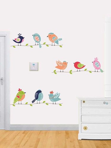 Rawpockets Wall Decals ' Cute Birds Family Wall Sticker '  Wall stickers (PVC Vinyl) Multicolour - 15733672 - Standard Image - 1