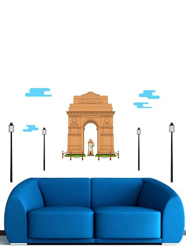 Rawpockets Wall Decals ' India Gate Wall Sticker '  Wall stickers (PVC Vinyl) Multicolour - 15733677 - Standard Image - 1