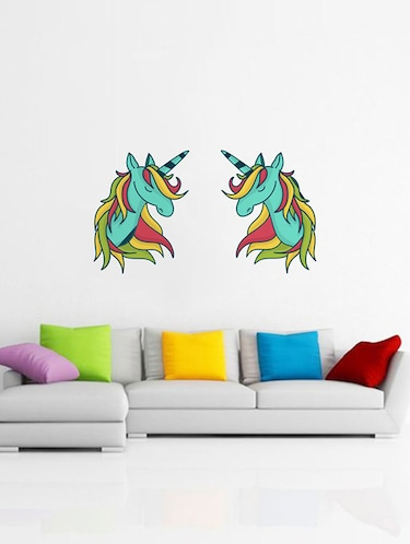 Rawpockets Wall Decals ' Colorful Unicorns Wall Sticker '  Wall stickers (PVC Vinyl) Multicolour - 15733682 - Standard Image - 1