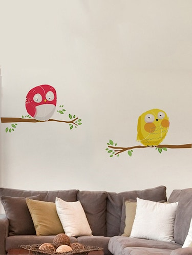 Rawpockets Wall Decals ' Yellow and Red Owl Wall Sticker '  Wall stickers (PVC Vinyl) Multicolour - 15733691 - Standard Image - 1