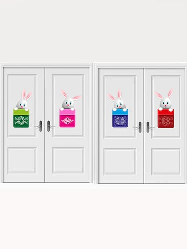 Rawpockets Wall Decals ' Rabbit Post Box Wall Sticker '  Wall stickers (PVC Vinyl) Multicolour - 15733692 - Standard Image - 1