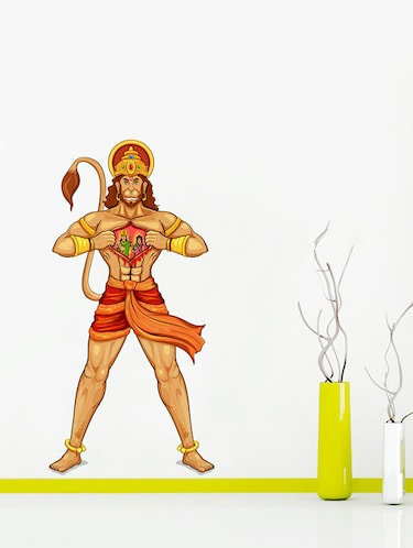Rawpockets Wall Decals ' Lord Ram and Sita on Hanuman's Heart Wall Sticker '  Wall stickers (PVC Vinyl) Multicolour - 15733693 - Standard Image - 1