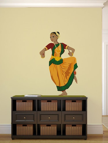 Rawpockets Wall Decals ' Indian Classical Dancer Wall Sticker '  Wall stickers (PVC Vinyl) Multicolour - 15733700 - Standard Image - 1