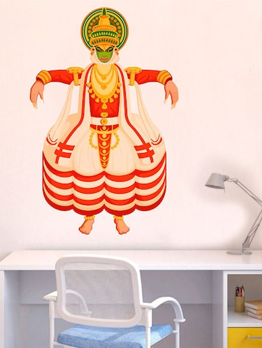 Rawpockets Wall Decals ' Kathakali Dance Wall Sticker '  Wall stickers (PVC Vinyl) Multicolour - 15733708 - Standard Image - 1