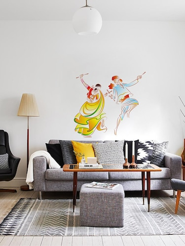 Rawpockets Wall Decals ' Dandiya Dance Wall Sticker '  Wall stickers (PVC Vinyl) Multicolour - 15733717 - Standard Image - 1