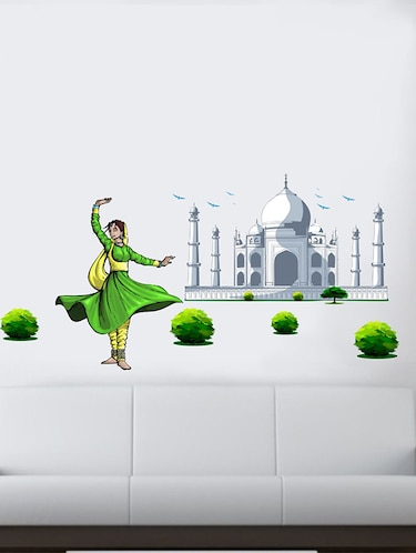Rawpockets Wall Decals ' Taj Mahal and Classical Dance Wal Sticker '  Wall stickers (PVC Vinyl) Multicolour - 15733726 - Standard Image - 1