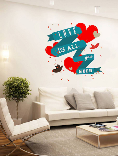 Rawpockets Wall Decals ' Love is All We Need '  Wall stickers (PVC Vinyl) Multicolour - 15733772 - Standard Image - 1