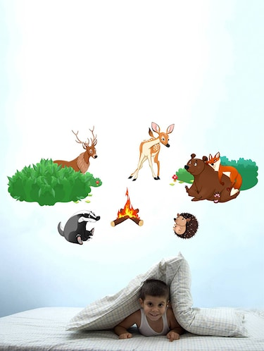 Rawpockets Wall Decals ' Jungle Story '  Wall stickers (PVC Vinyl) Multicolour - 15733774 - Standard Image - 1