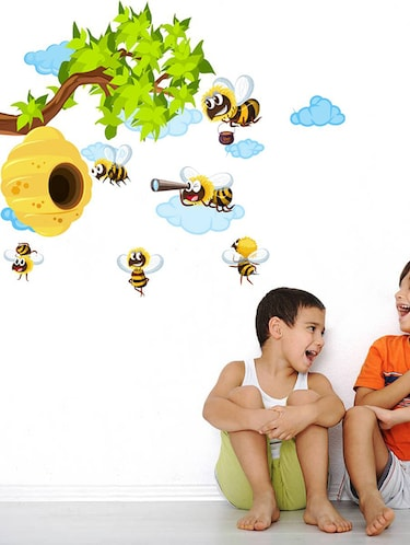 Rawpockets Wall Decals ' Bee Story '  Wall stickers (PVC Vinyl) Multicolour - 15733775 - Standard Image - 1