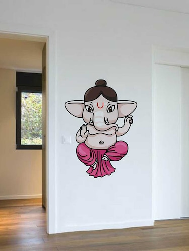 Rawpockets Wall Decals ' God Baby Ganesha '  Wall stickers (PVC Vinyl) Multicolour - 15733788 - Standard Image - 1