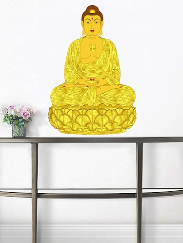 Rawpockets Wall Decals ' God Buddha Meditation '  Wall stickers (PVC Vinyl) Multicolour - 15733793 - Standard Image - 1