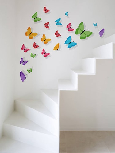 Rawpockets Wall Decals ' Living Room : Colorful Butterfly '  Wall stickers (PVC Vinyl) Multicolour - 15733834 - Standard Image - 1