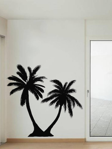Rawpockets Wall Decals ' Twin Coconut Tree Black '  Wall stickers (PVC Vinyl) Multicolour - 15733835 - Standard Image - 1