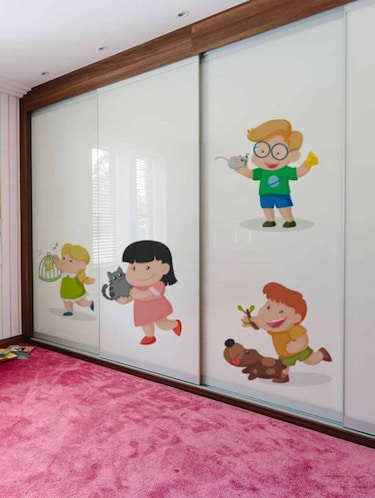 Rawpockets Wall Decals ' Kids Room : Kids Playing with Animals '  Wall stickers (PVC Vinyl) Multicolour - 15733846 - Standard Image - 1