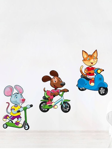 Rawpockets Wall Decals ' Kids Room : Pet Animals Riding Vehicles '  Wall stickers (PVC Vinyl) Multicolour - 15733851 - Standard Image - 1