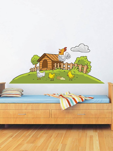 Rawpockets Wall Decals ' Farm House and Birds '  Wall stickers (PVC Vinyl) Multicolour - 15733852 - Standard Image - 1