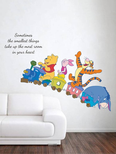 Rawpockets Wall Decals ' Kids Room : Animals on Baby Train and Quote '  Wall stickers (PVC Vinyl) Multicolour - 15733859 - Standard Image - 1