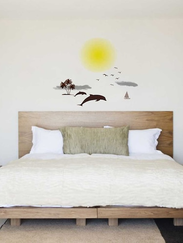 Rawpockets Wall Decals ' Beach and Sunset Story '  Wall stickers (PVC Vinyl) Multicolour - 15733869 - Standard Image - 1