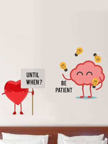 Rawpockets Wall Decals ' Heart and Brain Fight '  Wall stickers (PVC Vinyl) Multicolour - 15733873 - Standard Image - 1