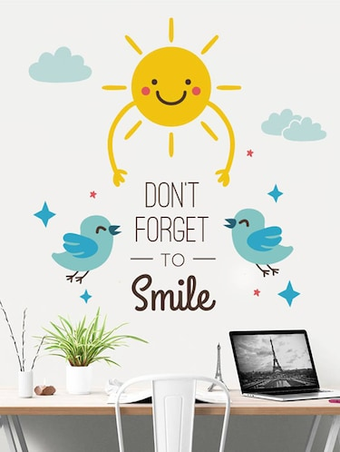 Rawpockets Wall Decals ' Don't Forget To Smile  '  Wall stickers (PVC Vinyl) Multicolour - 15733875 - Standard Image - 1