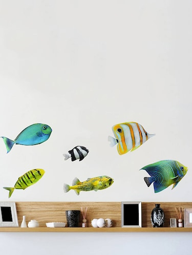 Rawpockets Wall Decals ' Colorful Fish  '  Wall stickers (PVC Vinyl) Multicolour - 15733885 - Standard Image - 1