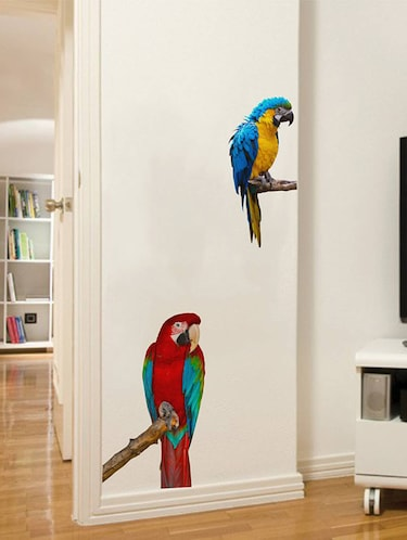 Rawpockets Wall Decals ' Green Wing Macaw Parrot '  Wall stickers (PVC Vinyl) Multicolour - 15733887 - Standard Image - 1