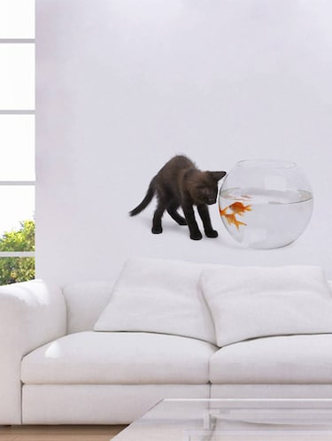Rawpockets Wall Decals ' Cat and Fish Bowl Abstract '  Wall stickers (PVC Vinyl) Multicolour - 15733902 - Standard Image - 1