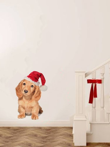 Rawpockets Wall Decals ' Dog with Christmas Cap '  Wall stickers (PVC Vinyl) Multicolour - 15733903 - Standard Image - 1
