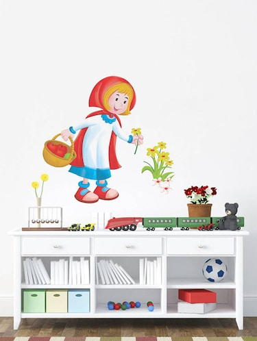 Rawpockets Wall Decals ' Cute Girl with Flowers '  Wall stickers (PVC Vinyl) Multicolour - 15733914 - Standard Image - 1