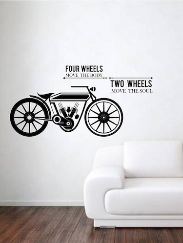 Rawpockets Wall Decals ' Four Wheels Two Wheels '  Wall stickers (PVC Vinyl) Multicolour - 15733916 - Standard Image - 1