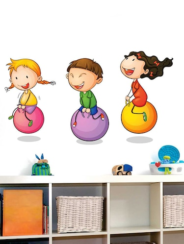 Rawpockets Wall Decals ' Kids Playing Ball Game '  Wall stickers (PVC Vinyl) Multicolour - 15733942 - Standard Image - 1