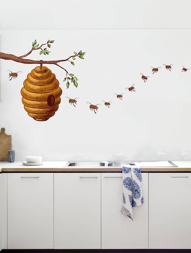 Rawpockets Wall Decals ' Honey Bee on Tree Story  '  Wall stickers (PVC Vinyl) Multicolour - 15733950 - Standard Image - 1