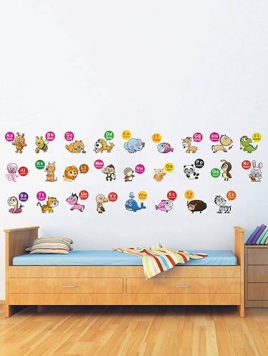Rawpockets Wall Decals ' English Alphabets Learning - Kid's Room '  Wall stickers (PVC Vinyl) Multicolour - 15733952 - Standard Image - 1