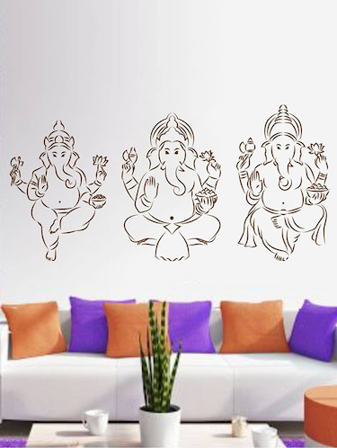 Rawpockets Wall Decals ' Three Kinds of Lord Ganesha '  Wall stickers (PVC Vinyl) Multicolour - 15733974 - Standard Image - 1