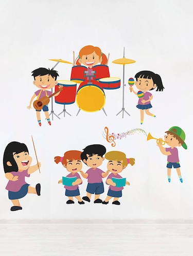 Rawpockets Wall Decals ' Kid's Music Band - Kid's Room '  Wall stickers (PVC Vinyl) Multicolour - 15733980 - Standard Image - 1