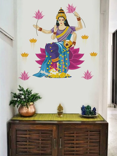 Rawpockets Wall Decals ' Goddess Lakshmi Blessing Gold  '  Wall stickers (PVC Vinyl) Multicolour - 15733981 - Standard Image - 1