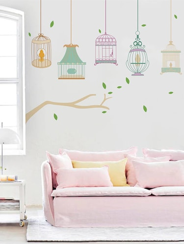Rawpockets Wall Decals ' Different Kind of Cages '  Wall stickers (PVC Vinyl) Multicolour - 15733985 - Standard Image - 1
