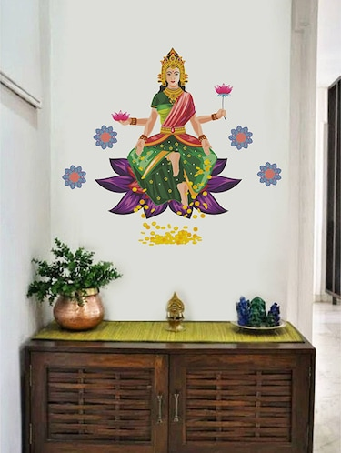 Rawpockets Wall Decals ' Goddess Laxmi Blessing Gold with Flower '  Wall stickers (PVC Vinyl) Multicolour - 15733988 - Standard Image - 1