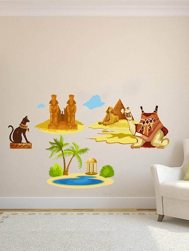 Rawpockets Wall Decals ' Egypt Story with Pyramid and Camel '  Wall stickers (PVC Vinyl) Multicolour - 15734006 - Standard Image - 1