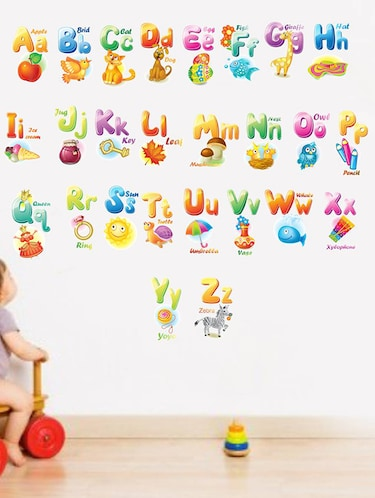Rawpockets Wall Decals ' English Alphabets for Education - Kid's Room '  Wall stickers (PVC Vinyl) Multicolour - 15734025 - Standard Image - 1