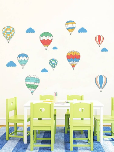 Rawpockets Wall Decals ' Air Ballon Story - Kid's Room '  Wall stickers (PVC Vinyl) Multicolour - 15734027 - Standard Image - 1