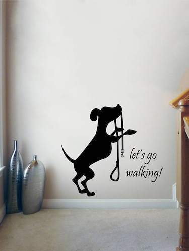 Rawpockets Wall Decals ' Let's go Walking Dog '  Wall stickers (PVC Vinyl) Multicolour - 15734030 - Standard Image - 1