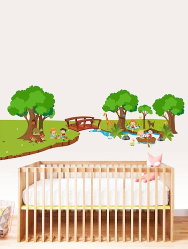 Rawpockets Wall Decals ' River and Park for Children - Kid's Room '  Wall stickers (PVC Vinyl) Multicolour - 15734032 - Standard Image - 1