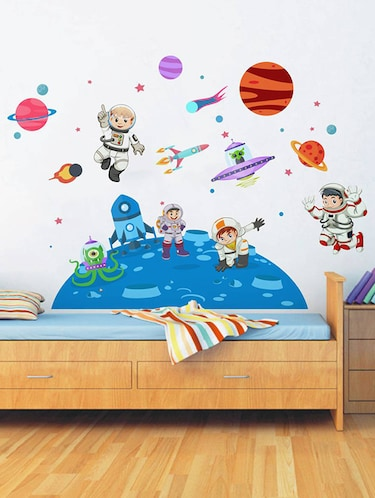 Rawpockets Wall Decals ' Kid's on Space - Kid's Room '  Wall stickers (PVC Vinyl) Multicolour - 15734033 - Standard Image - 1