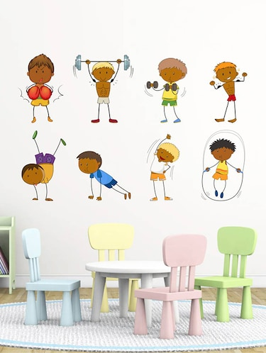 Rawpockets Wall Decals ' Kid's Activites and Game - Kid's Room '  Wall stickers (PVC Vinyl) Multicolour - 15734051 - Standard Image - 1