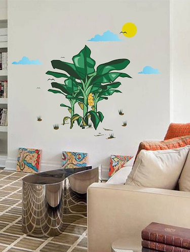 Rawpockets Wall Decals ' Banana Tree Story with Sunrise '  Wall stickers (PVC Vinyl) Multicolour - 15734054 - Standard Image - 1