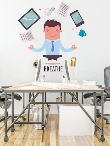 Rawpockets Wall Decals ' Breathe Infograph - Office '  Wall stickers (PVC Vinyl) Multicolour - 15734066 - Standard Image - 1